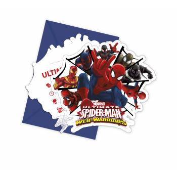6 Invitations + enveloppes Spiderman Web Warriors