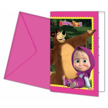 6 Cartes invitations Masha et Michka