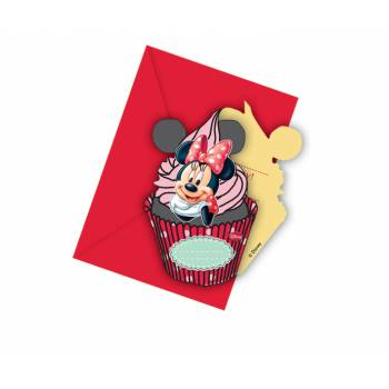 6 Cartes d'invitation Minnie cupcake