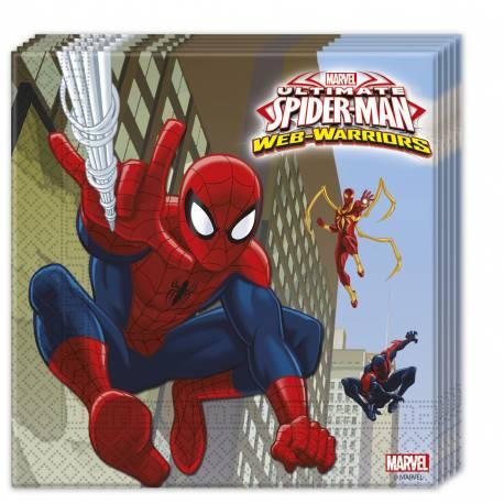 20 serviettes en papier pour anniversaire thème Spiderman web warriors Dimensions ouverte : 33 cm x 33 cm