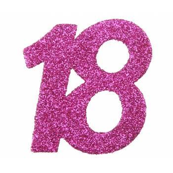 6 Confettis géant fuchsia pailleté 18 ans