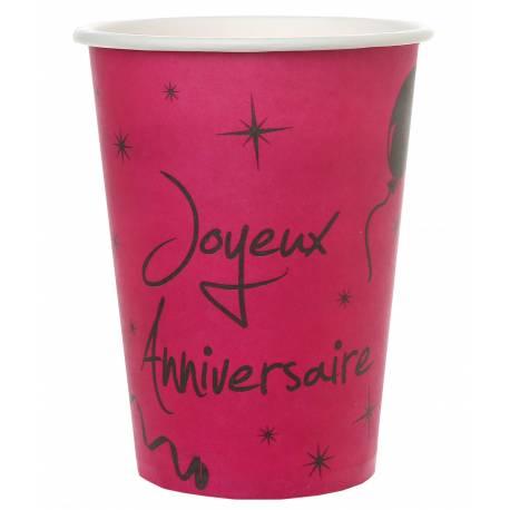 10 Gobeletsen carton thème Joyeux anniversairefuchsia Dimensions :20 clø7.8 x 9.7 cm Parfait pour la deco de votre fête ou...