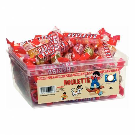 Assortiment de 45 bonbons roulettes gélifiées aux fruits Haribo Vendu à l'unité Poids : 25 gr