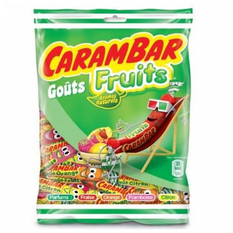 Sachet de 130 gr de Carambar au goût fruits! Assortiment de plusieurs goût : citron, fraise, orange, framboise....