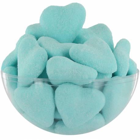 250 bonbons en forme de coeurs bleu design intérieur guimauve blanche Poids : 1.5 kg Parfum cola Fabrication française