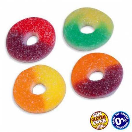 Paquet de 1 kg (environ 385 pièces) de bonbons gélifiés aux fruits en forme d'anneaux