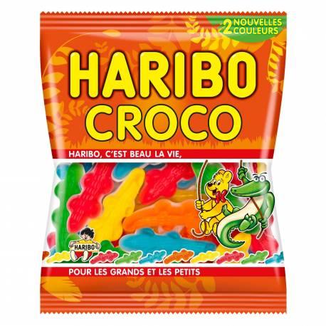 Bonbons Haribo en forme de crocodile.Sachet de 120 gr de bonbons gélifiés Haribo