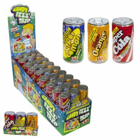 Trois canettes qui associent trois parfums de soda, orange, citron et coca Elles sont remplies de bonbons effervescents hyper acidulés...