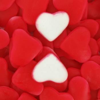 Bonbons gélifiés coeur rouge et blanc 1 KG