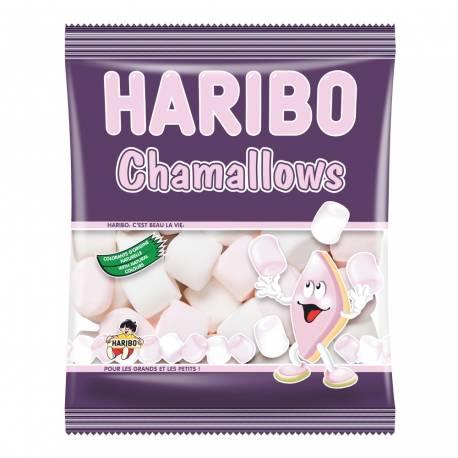 Paquet de 100 gr de marshmallow Haribo blanc et rose aromatisé à la fleur d'oranger