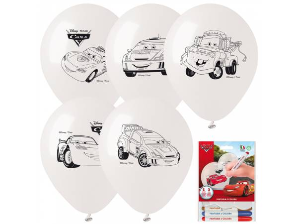 Kit Ballons anniversaire en latex Cars a colorier