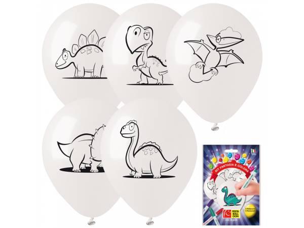Kit Ballons anniversaire en latex Dinosaure a colorier