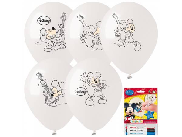 Kit Ballons anniversaire en latex Mickey a colorier