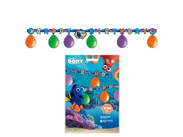 Kit 6 ballons en latex + guirlande Happy Birthday Dory- deco anniversaire