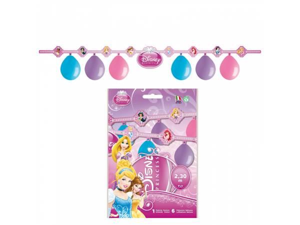 Kit 6 ballons en latex + guirlande Happy Birthday Princesses Disney- deco anniversaire