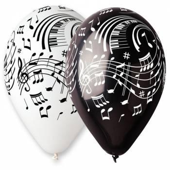 10 Ballons note de musique noir/blanc