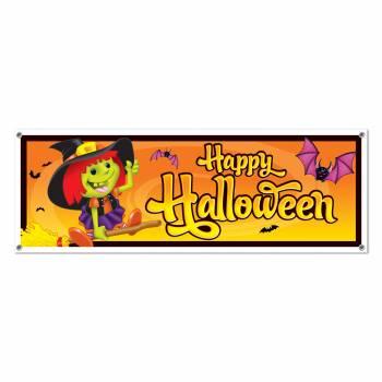 Bannière Happy Halloween Sorcière