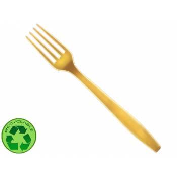 10 Fourchettes en plastique or