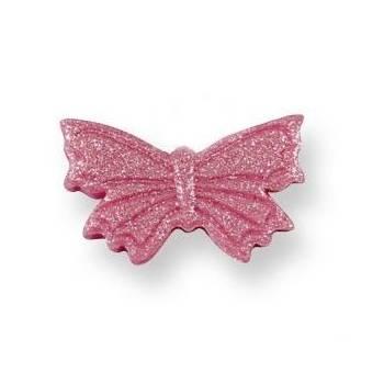6 Petits papillons en sucre rose