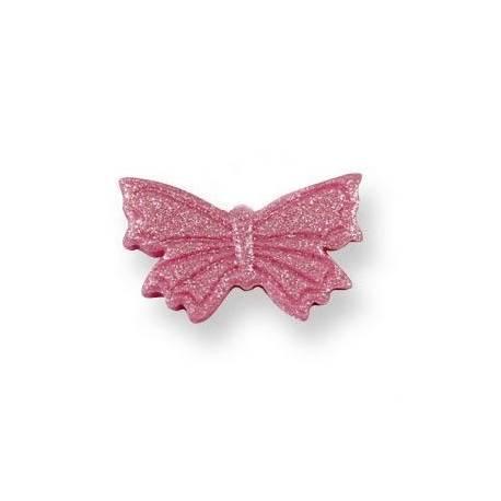 Boîte de 6 papillonsen sucre de couleur rose pour décorer vos desserts Dimensions : 3cm x 2 cm