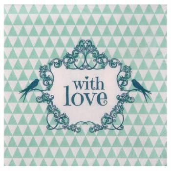 20 Serviettes vintage Love menthe