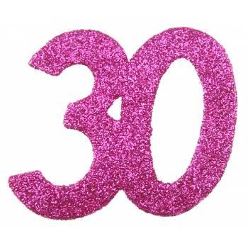 6 Confettis géant fuchsia pailleté 30 ans