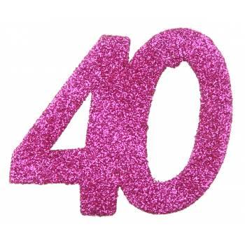 6 Confettis géant fuchsia pailleté 40 ans
