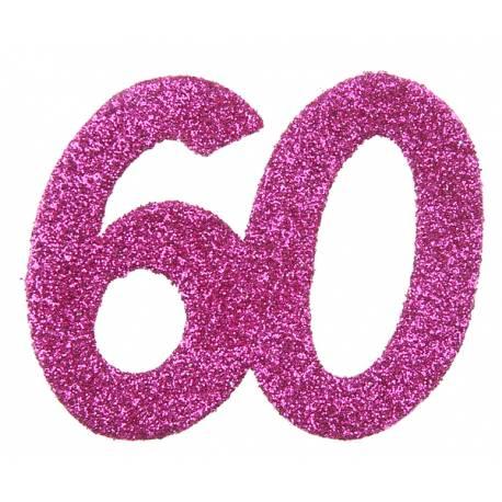 6 Confettis géant pailleté fuchsia 60ans Dimensions :6 x 5 cm Parfait pour la deco de votre fête ou anniversaire.