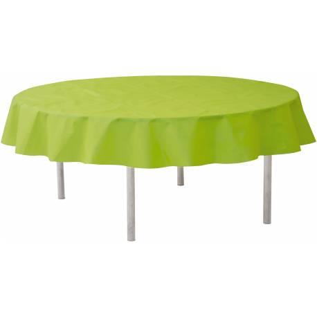 Nappe ronde intissée verte Ø 240 cm idéal pour les tables de Ø 180 cm pour avoir un joli retombé
