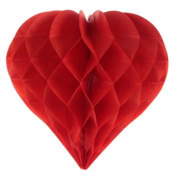 2 Suspensions coeur rouge en papier