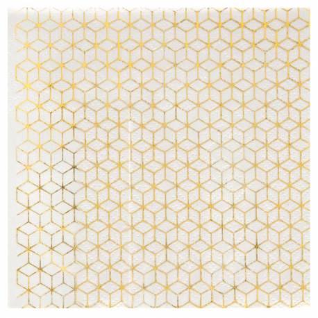20 Serviettes en papier blanche décor en dorure à chaud or pour une décoration de table de Noël, chic et sobre Dimensions : fermé 12.5 x...