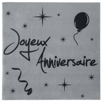 20 serviettes joyeux anniversaire gris/noir