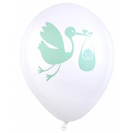 8 Ballons latex blanc avec impression cigogne rose idéal pour la décoration d'une baby shower vert Dimensions : Ø23cm