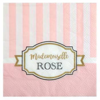20 serviettes Mademoiselle Rose