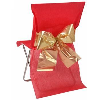 4 Housses de chaises rouge noeud métallisé or