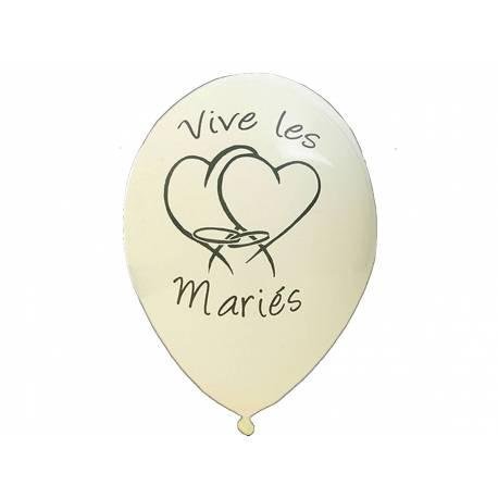 8 Ballons latex imprimé Vives les mariés Couleur :ivoire Dimensions : Ø 28 cm