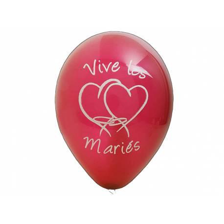 8 Ballons latex imprimé Vives les mariés Couleur :bordeaux Dimensions : Ø 28 cm