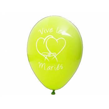 8 Ballons Vives les mariées Vert