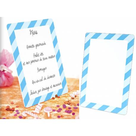 Ardoise menu en forme deCandy bleu Dimensions : 18 cm x 12 cm