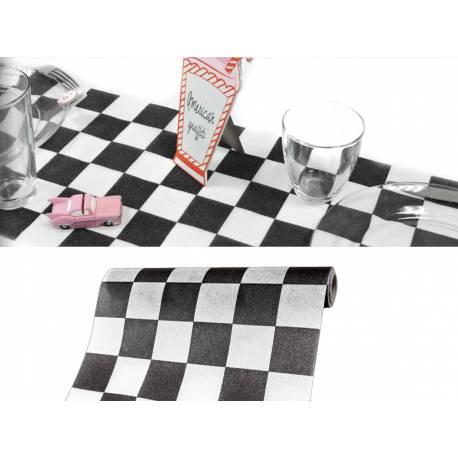 chemin de table jetable damier. Black Bedroom Furniture Sets. Home Design Ideas