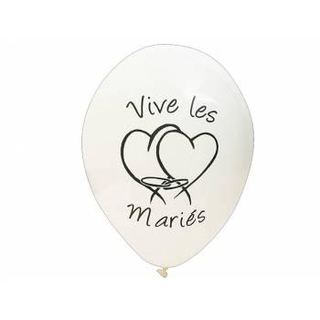 8 Ballons Vives les mariées blanc