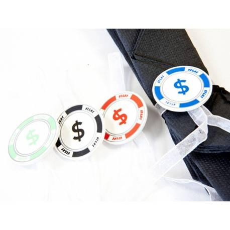 4 Décors de serviettes avec rubans en forme de jetons de pokeridéal pour le thème Poker ou Las Vegas Dimensions : Ø 3 cm