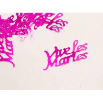 Confettis de table Vives les mariés fuchsia