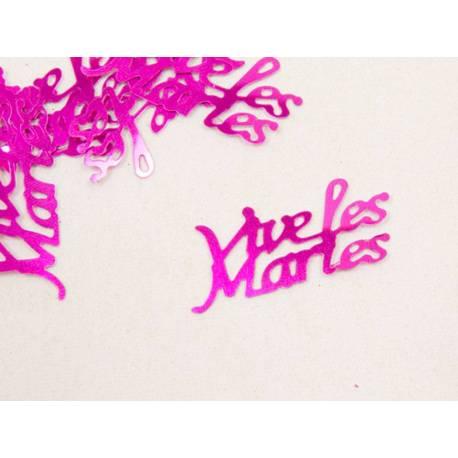 Confettis de tables Vives les mariés à parsemer sur vos tables Couleurfuchsia Poids : 10 gr