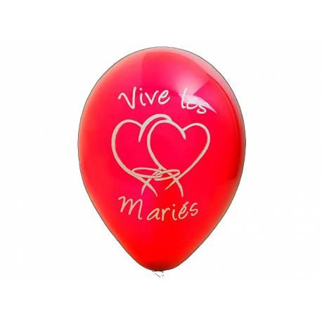 8 Ballons latex imprimé Vives les mariés Couleur :rouge Dimensions : Ø 28 cm