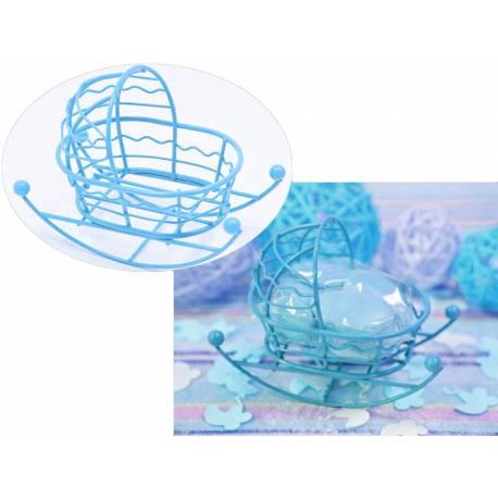 Mini berceau en métal bleuidéal pour le cadeau offert aux invités lors de vos baptêmes, baby shower... A remplir de dragées,...