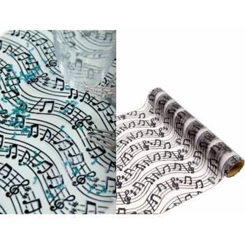 Chemin de table jetable blanc la musique