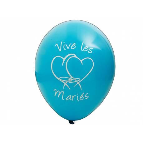 8 Ballons latex imprimé Vives les mariés Couleur :turquoise Dimensions : Ø 28 cm