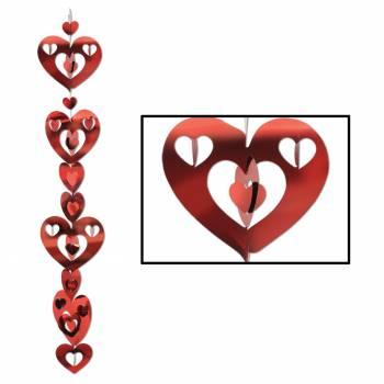 2 Guirlandes verticale coeur métallisé rouge