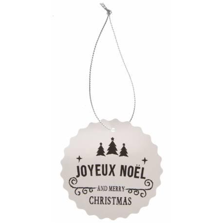 4 Nominettes ou marques place en carton rond festonnés avec impression Joyeux Noël idéal pour le placement de vos invités à la table de...